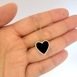 Diamond Onyx Heart Pendant Necklace 14K Gold