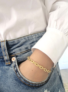 Rounded Rectangle Paperclip Link Bracelet 14K Yellow Gold