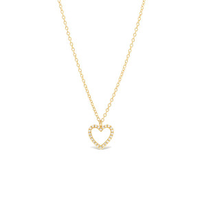 Diamond Open Heart Pendant Necklace 14K Yellow Gold