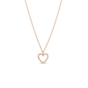 Diamond Open Heart Pendant Necklace 14K Rose Gold