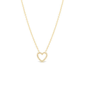 Diamond Open Heart Necklace 14K Yellow Gold