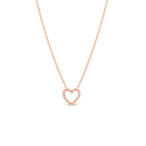 Diamond Open Heart Necklace 14K Rose Gold