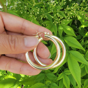 Thick Round Click Hoop Earring Gold Filled