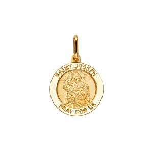 14K Yellow Gold Saint Joseph Medal Pendant with Ring