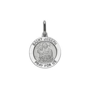 14K White Gold Saint Joseph Medal Pendant with Ring