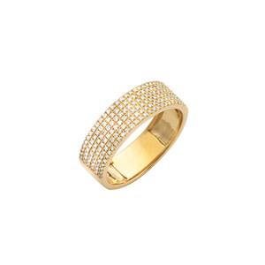 6 Rows Diamond Band 14K Gold