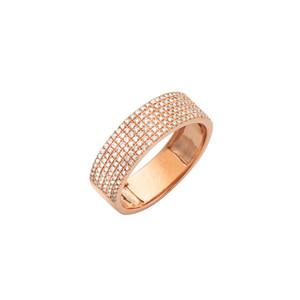 6 Rows Diamond Wedding Band 14K Gold