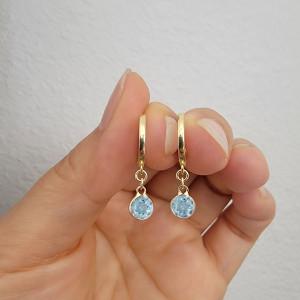 Bezel Gemstone Dangle Huggie Hoop Earring 14K Gold