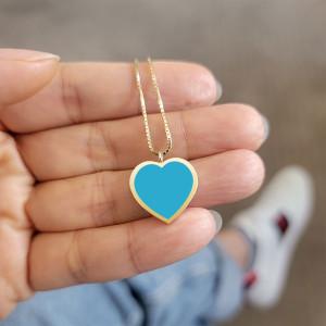Large Turquoise Heart Pendant Necklace 14K Gold