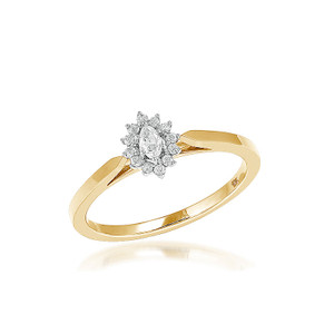 Diamond Marquise Promise Ring 10K Yellow Gold