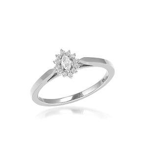 Diamond Marquise Promise Ring 10K White Gold