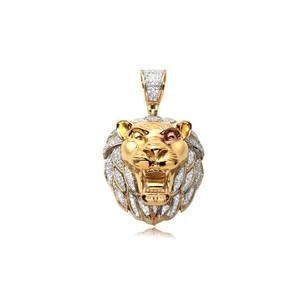 Diamond Lion Head Pendant 10K Yellow Gold