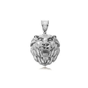 Diamond Lion Head Pendant 10K White Gold