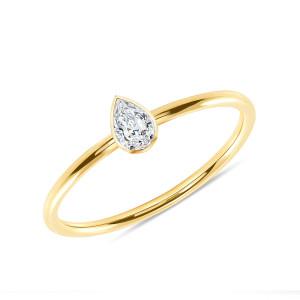 Pear Shaped Diamond Engagement Ring 14K Yellow Gold