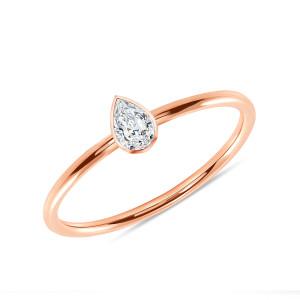 Pear Shaped Diamond Engagement Ring 14K Rose Gold