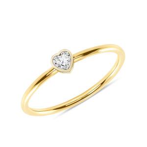 Heart Shaped Diamond Promise Ring 14K Yellow Gold