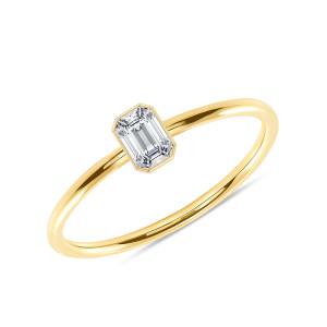Emerald Cut Diamond Engagement Ring 14K Yellow Gold
