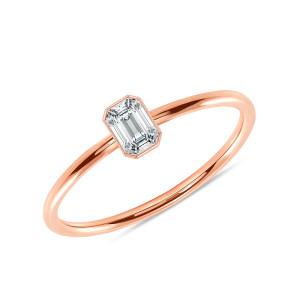 Emerald Cut Diamond Engagement Ring 14K Rose Gold