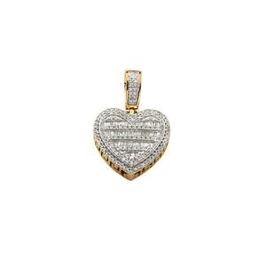 Baguette Diamond Heart Pendant 10K Yellow Gold