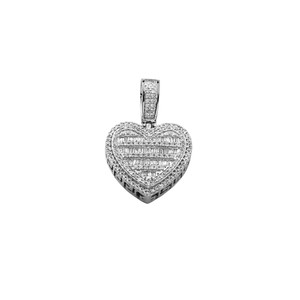 Baguette Diamond Heart Pendant 10K White Gold