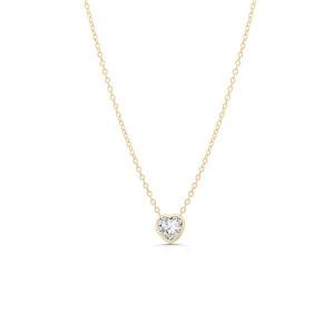 Diamond Heart Solitaire Bezel Pendant Necklace 14K Yellow Gold