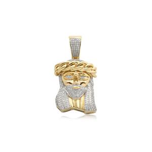 Men's Diamond Miami Cuban Jesus Pendant 10K Yellow Gold