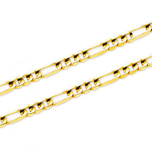 14K Yellow Gold Figaro 3+1 Chain Necklace With Lobster Clasp