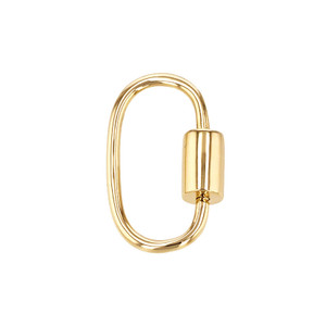14K Yellow Gold Plain Carabiner Clasp With Screw Closure