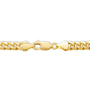14K Yellow Gold Solid Miami Cuban Chain Necklace With Lobster Clasp