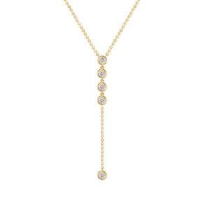 Five Diamond Bezel Lariat Necklace in 14K Gold