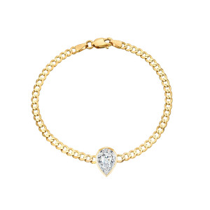 Pear Shape Diamond Cuban Link Bracelet 14K Yellow Gold