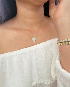 Diamond Large Heart Pendant Necklace 14K Gold