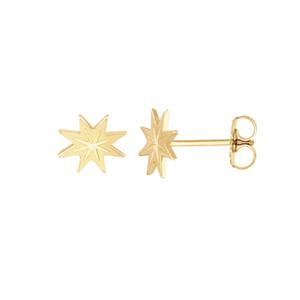 14 Karat Yellow Gold Starburst Stud Earrings