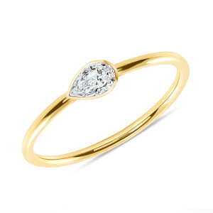 Solitaire Pear Shaped Diamond 14K Yellow Gold
