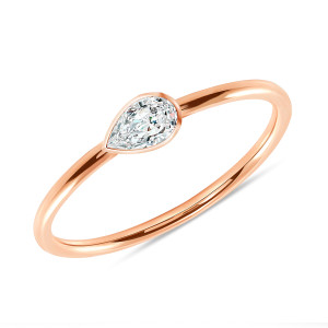 Solitaire Pear Shaped Diamond 14K Rose Gold