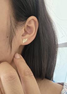 14 Karat Yellow Gold Leaf Stud Earrings