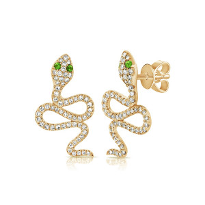 Diamond and Emerald Snake Stud Earrings in 14KY Gold