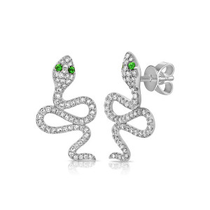 Diamond and Emerald Snake Stud Earrings in 14KW Gold