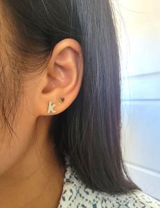 Lowercase Diamond Initial Stud Earring in 14K Gold