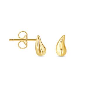 14K Yellow Tear Drop Stud Earrings