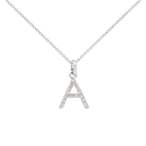 Diamond initial necklace 14k white gold