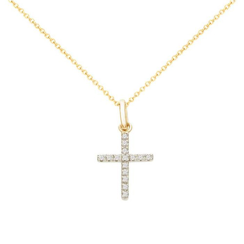 Diamond Cross Necklace 14ky gold