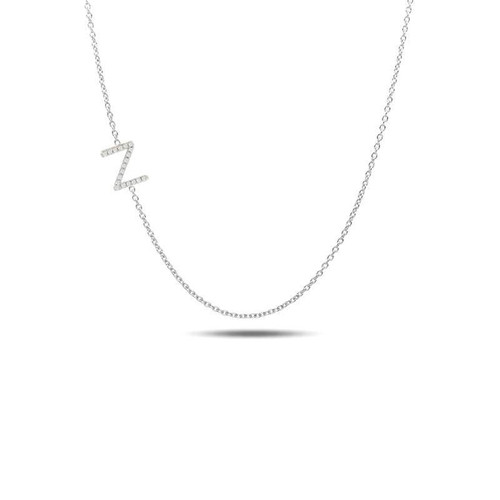 Sideway diamond initial necklace 14kw gold