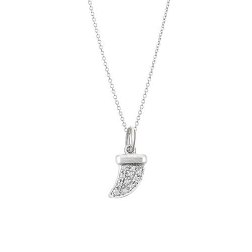 Diamond Tusk Necklace 14kw Gold