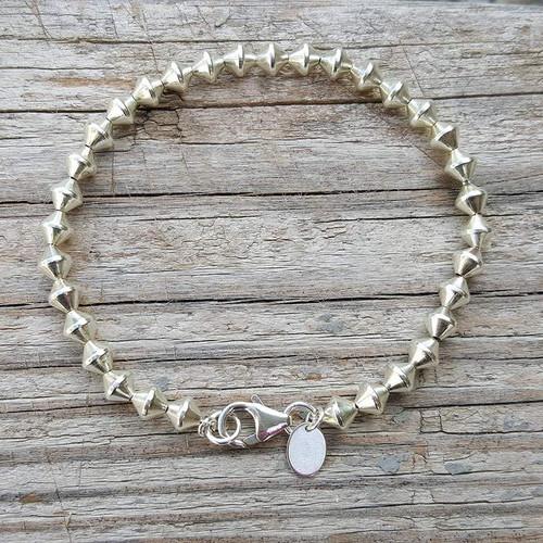 Diamond Shape 925 Sterling Silver Bead Bracelet