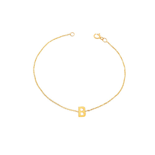 Side way Initial Bracelet 14K Yellow Gold