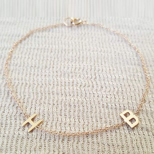 Two Initials Bracelet 14K Yellow Gold