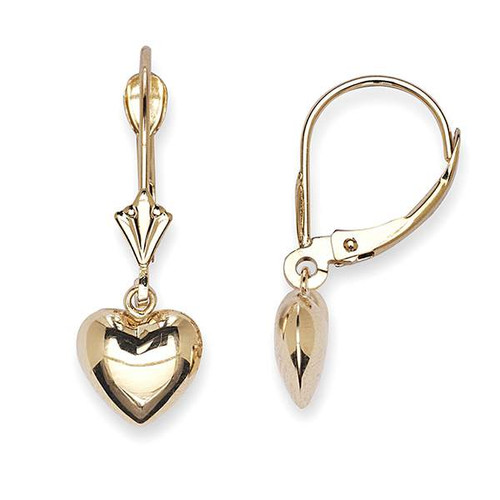 Heart Lever Back Dangle Earrings 14K Yellow Gold