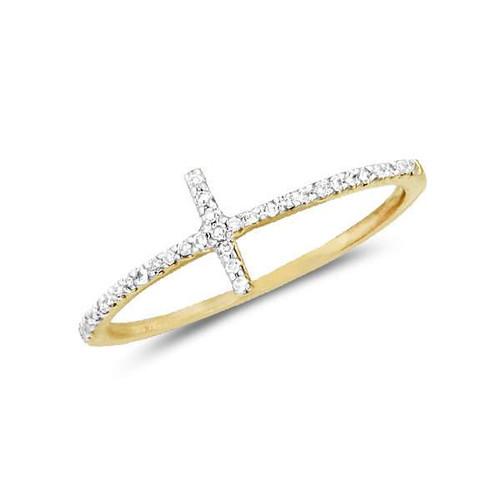 Diamond Cross Ring 14 Karat Gold