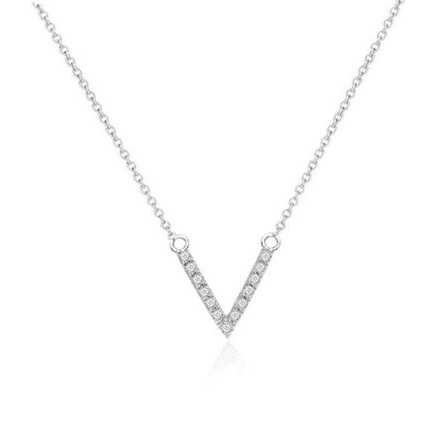 Diamond V Necklace 14K White Gold